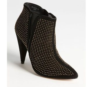 EUC Topshop Gold Studded Black Suede Ankle Boots